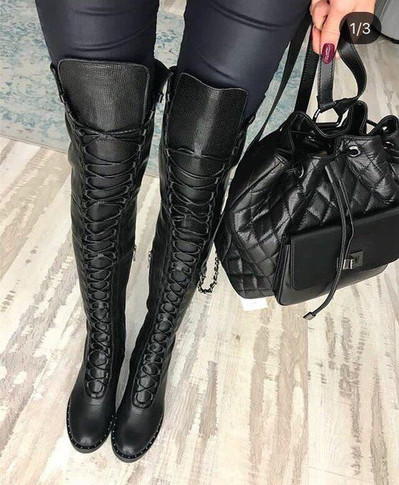 Женские сапоги на шнуровке 2019