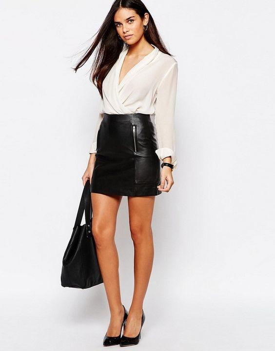 Черная кожаная юбка с белой блузкой: тренды 2019