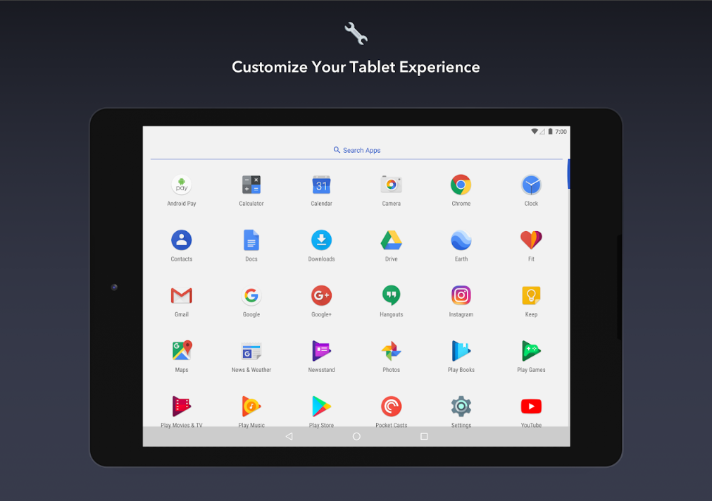 Apex Launcher на планшете