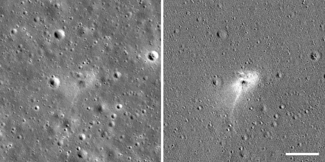 Место крушения Beresheet, зафиксированное камерой LRO NASA. Изображение справа обработано, чтобы детально выделить место катастрофы.
