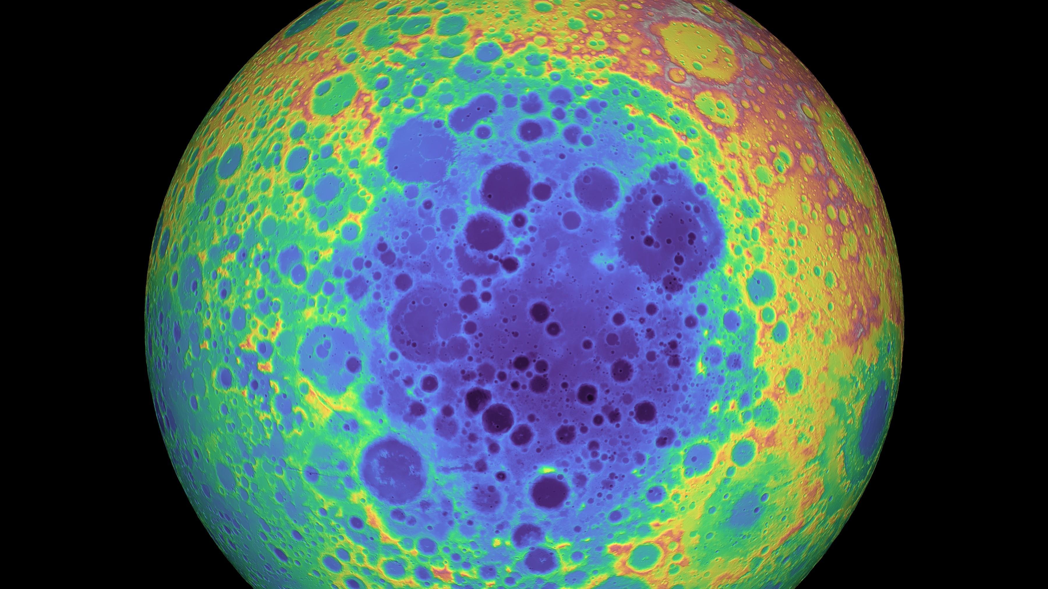 Айткенский бассейн (выделен фиолетовым цветом) представляет собой гигантский кратер от древнего падения метеорита