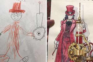 À Tokyo, l'artiste transforme des dessins d'enfants dans le plus cool de bande dessinée