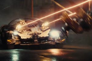 The new Batmobile lit up in the trailer for