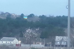 In the Crimea hung the flags of Ukraine