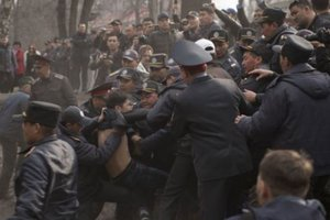 In Kyrgyzstan, the police used stun grenades against the protesters