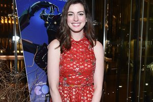 Anne Hathaway in a dress from Armani accidentally showed his chest