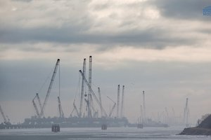 In the network shown, what is happening with the Crimean bridge