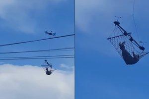 Мужчина совершил полет в гамаке, привязанном к дрону