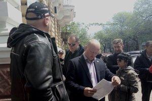 В Одессе активисты устроили акцию под зданием облполиции