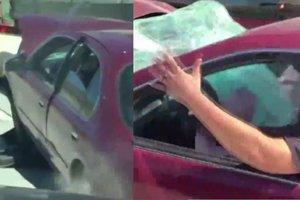 Дальнобойщик четыре мили тащил за собой прицепившуюся машину