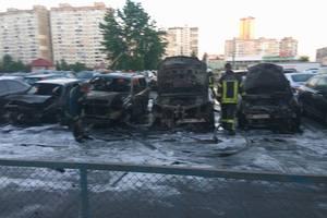 Появилось видео масштабного пожара с выгоревшими машинами на автостоянке в Киеве