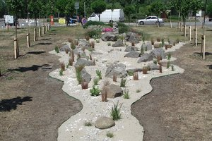 В киевском парке появился ручей из камня