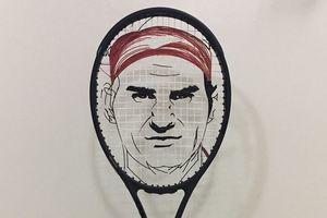 Портрет Роджера Федерера изобразили на теннисной ракетке