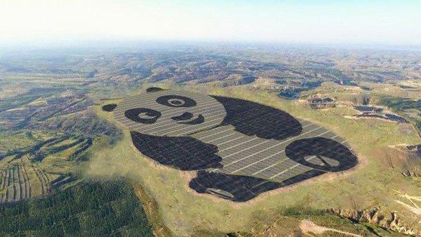 В Китайская народная республика построили солнечную электростанцию вформе панды