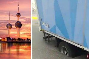 В Кувейте грузовик увяз в расплавленном жарой асфальте
