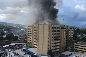 A terrible fire in Salvador: the building of the Ministry of Finance of the burned people