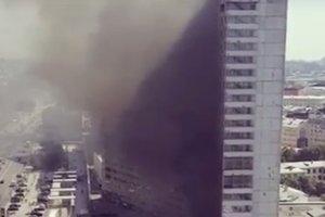 В Москве на Новом Арбате горела высотка в форме книжки