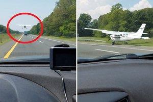 Водитель снял, как прямо перед ним на дорогу приземлился самолет