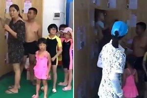 Китайские родители оставили плачущего ребенка в шкафчике для одежды