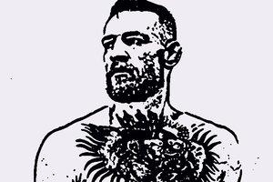 Художница грудью нарисовала портрет Конора Макгрегора