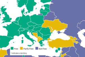 Freedom House проиллюстрировала отчет об угрозах демократии картой Украины без Крыма