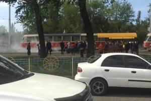 В Киеве загорелся трамвай с пассажирами