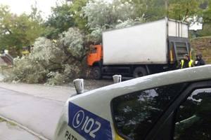 В Киеве грузовик вылетел с мокрой дороги в дерево