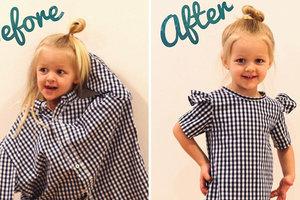 Из папиной рубашки: мама шьет дочкам яркие наряды