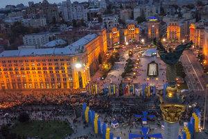Марш УПА в Киеве с высоты птичьего полета