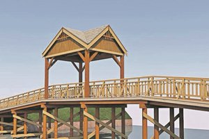 In Pushcha-Voditsa you will see the bridge with a gazebo