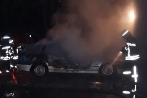 В центре Запорожья ночью сгорел BMW
