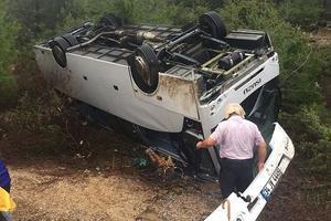 В Турции опрокинулся туристический автобус, есть пострадавшие