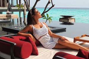 Santa Dimopoulos in the swimsuit boasted a holiday in the Maldives