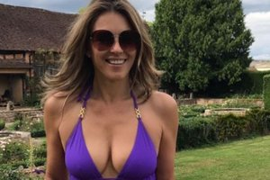 52-year-old Elizabeth Hurley showed a trim figure in a swimsuit