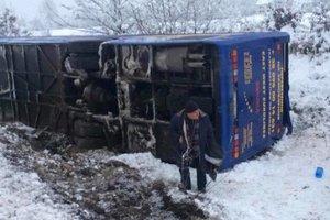 Во Львовской области пассажирский автобус слетел с дороги