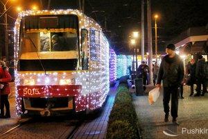 В Одессе прошел рождественский парад трамваев