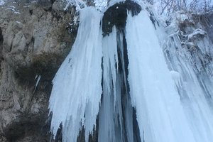 In the Ternopil region has unique frozen waterfall