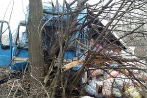In Ternopil region the truck with the products flew off the road and crashed into a tree