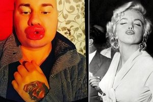 The Frenchman increased the lips to giant size to be like Marilyn Monroe