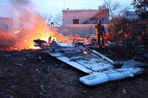 """В Сети появилось видео с места падения российского штурмовика """"Су-25"""" в Сирии"""