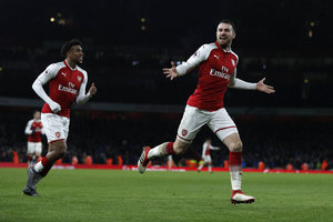 Arsenal trashed Everton: Aaron Ramsey scored a hat-trick