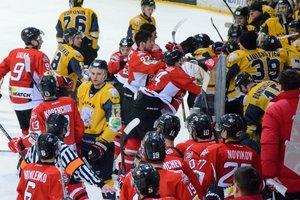 Массовая драка украинских хоккеистов во время матча