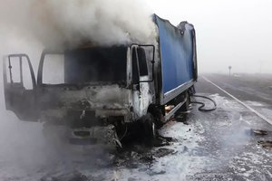 На трассе под Мелитополем внезапно сгорел грузовик