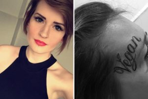 The girl was tattooed on her face tattoo vegan, protesting against the killing of animals