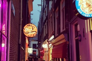 Tourists were forbidden to watch and photograph in the Red light district in Amsterdam