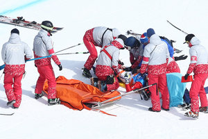 The French athlete took the track with a stretcher at the Olympics
