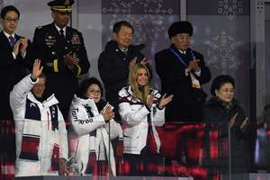 The face of the chief of reconnaissance of North Korea at the closing ceremony of the Olympics