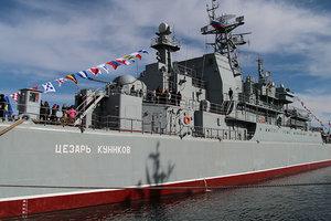 В Крыму российский корабль провел артиллерийские стрельбы
