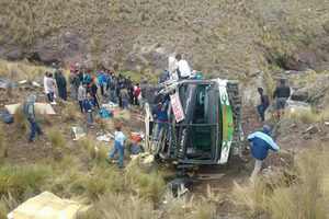 In Peru, a bus fell into a gorge, killing at least 10 people