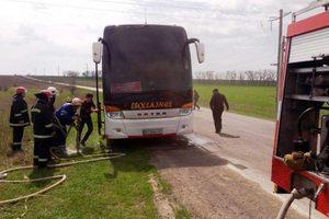 В Одесской области загорелся автобус на Москву